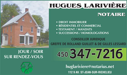 Larivi&egrave;re Hugues (450-347-7216) - Annonce illustr&eacute;e