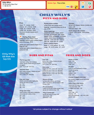 Chilly Willy's (709-745-7171) - Menu
