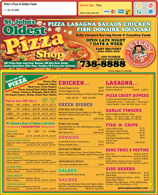 Peter's Pizza (709-738-8888) - Menu