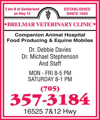 Brelmar Veterinary Clinic (705-357-3184) - Display Ad - 16525 7&12 Hwy  16525 7&12 Hwy
