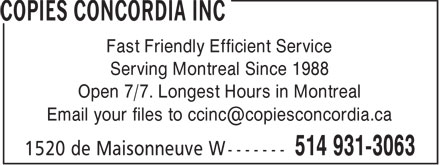 Copies Concordia Inc (514-931-3063) - Annonce illustrée======= - COPIES CONCORDIA INC