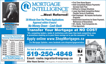 Mortgage Intelligence (519-250-4848) - Annonce illustr&eacute;e - First Time Home Buyers Debt Consolidate/Reduce Payments/ Increase Cash Flow Difficult or Unique Situations Lower than Bank Competitive Rates/ FSCO# 10428 Flexible Terms &amp; Conditions ...Most Referred! Self Employed - No Income Verification Programs Government Incentives for Down Payment, 20 Minute Over the Phone Applications Refinances &amp; Renovations Approval within 4 hours! 40 + Banks, Trust Companies etc. Rasha Ingratta Free Appraisals No Money Down - Cash Back Mortgage Agent License# M08001477 Transfer Your Mortgage at NO COST 40+ competing lenders, banks &amp; institutions with lower than bank competitive rates &amp; promotions enabling us to pass those savings on to you the consumer!  No Fees Purchasing? Refinancing? Renewing? Debt Consolidating? Apply online www.ShopMortgages.ca Mortgage Monthly Payment Examples Balance 30 Yrs 25 Yrs For Mortgage Updates: www.facebook.com/shopmortgageswindsor 50,000 $218.09 $244.13 100,000 $436.18 $488.25 150,000 $654.27 $732.38 For fast &amp; efficient service call: 200,000 $872.35 $976.50 250,000 $1090.44 $1220.63 300,000 $1308.53 $1464.75 519-250-4848 Rates Updated Daily @ www.ShopMortgages.ca Email: rasha.ingratta@migroup.ca Payments based on 5 yr term, 3.29% O.A.C. 3041 Dougall Ave., #11 (Across from Capri Pizzeria) After Hours Service