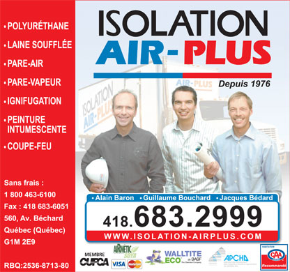 Isolation Air-Plus Inc (581-701-0031) - Annonce illustr&eacute;e - POLYUR&Eacute;THANE GICL&Eacute; MEMBRE de Recommand&eacute; POLYUR&Eacute;THANE GICL&Eacute; MEMBRE de Recommand&eacute;
