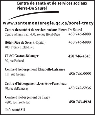 Centre De Sant&eacute; Et De Services Sociaux Pierre-De Saurel (450-746-6000) - Annonce illustr&eacute;e