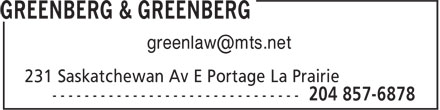 Greenberg & Greenberg (204-857-6878) - Annonce illustrée - greenlaw@mts.net  greenlaw@mts.net