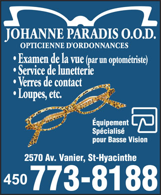 Paradis Johanne O O D (450-773-8188) - Display Ad