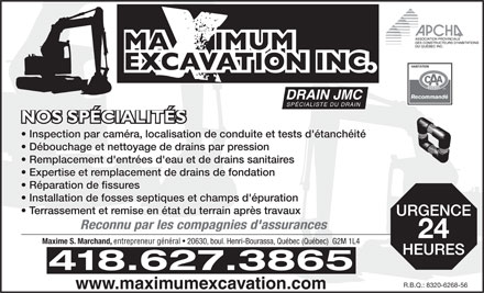 Drain J M C-Maximum Excavation Inc (418-627-3865) - Annonce illustrée
