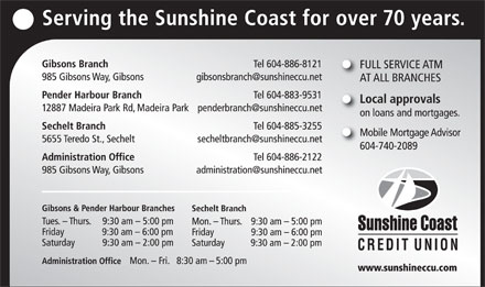 Sunshine Coast Credit Union (604-886-8121) - Annonce illustrée