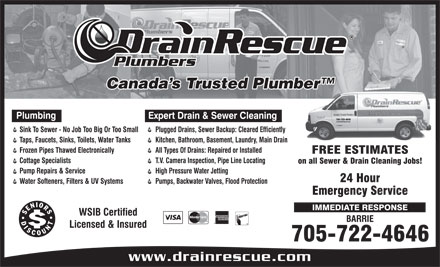 Drain Rescue Plumbers (705-722-4646) - Display Ad