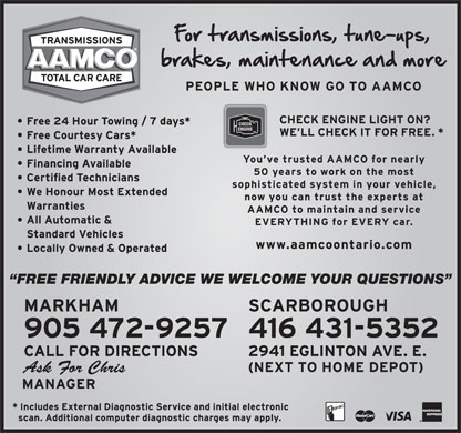 AAMCO Transmissions (905-472-9257) - Annonce illustr&eacute;e