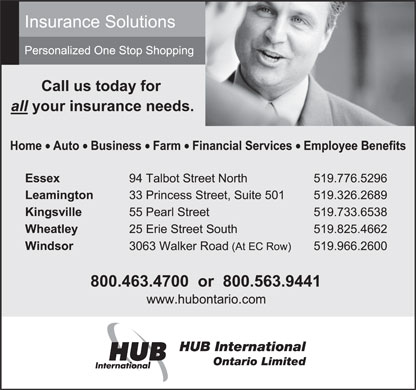 HUB International Ontario Limited (519-966-2600) - Display Ad - HUB International Ontario Limited  HUB International Ontario Limited