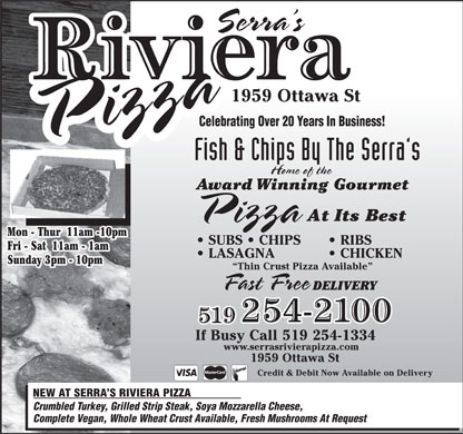 Riviera Pizza & Fish & Chips (519-254-2100) - Annonce illustrée