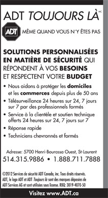 ADT Services De Sécurité Canada (1-888-711-7888) - Display Ad