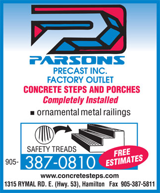 Parsons Precast (905-387-0810) - Display Ad