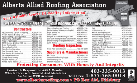 Alberta Allied Roofing Assn (403-507-4070) - Annonce illustr&eacute;e - Alberta Allied Roofing Association Your Reliable Source Of Roofing Information WE ASSIST YOU IN SELECTING YOUR ROOFING CONTRACTOR and/or SUPPLIERUPPLIER Meerkat Roofing and Exteriors.................403 226-2700 GAF ......................................................1-800-555-18521-800-555-1852 Contractors Peddie Roofing &amp; Waterproofing Ltd.......403 273-7000 IKO Industries Ltd....................................403 265-6022 Royal Roofing Inc....................................403 248-6397 Kenroc Building Supplies.........................403 287-7262 480040 Alberta Ltd O/A 48 Roofing.........403 804-1101 Shake Experts..........................................403 247-4253 Malarkey Roofing Products......................403 804-3309 A Clark Roofing &amp; Siding LP....................403 264-5556 Shingles &amp; Shakes Roofing Co. Ltd.........403 650-9654 Monarch Roofing Centre..........................403 444-3000 Action Roofing &amp; Siding Limited..............403 293-0497 SIAC-Scott Building Envelope Solutions Ltd...403 251-3000 Owens Corning Canada LP..................1-877-324-1914 Alfa Roofing &amp; Siding Ltd........................403 251-7155 Skyline Building Envelope Solutions Inc.....403 277-0700 Phoenix Metals Ltd..................................403 272-5547 Angel's Roofing Ltd.................................403 569-2643 Sunik Roofing..........................................403 280-2803 Proline Building Materials........................403 262-1008 BMW Roofing &amp; Siding 2000 Inc.............403 201-9730 Roofmart Alberta Ltd...............................403 253-7553 Bricor Roofing Ltd...................................403 720-3582 Roofing Inspectors Shoemaker Drywall Supplies &amp; Century Roofing Ltd.................................403 235-5457 Swan Roof Consulting Inc.......................403 288-5044 Building Materials....................................403 291-1013 Claw Roofing Specialists..........................403 969-2439 Spar-Marathon.........................................403 255-8236 Dale Roofing &amp; Const. Ltd.......................403 276-8011 Suppliers &amp; Manufacturers Trimet Building Products.........................403 243-5775 Epic Roofing &amp; Exteriors Ltd. ..................403 366-3770 Unicrete Products Ltd..............................403 279-8321 BP Canada...............................................780 466-1135 Geransky Exteriors Ltd.............................403 590-0839 Winroc.....................................................403 255-8157 Consolidated Roofing Supply....................403 243-2633 Guns&amp; Hoses Roofing.............................403 796-7663 Convoy Supply Ltd...................................403 207-3400 Houston Roofing Ltd................................403 243-2155 Enercon Products Inc...............................403 720-0600 Klotz &amp; Horne Roofing Ltd.......................403 235-4970 Protecting Consumers With Honesty And Integrity Contact A Responsible AARA Member 403-335-0013 Who Is Licensed, Insured And Maintains An Active WCB Account Toll Free 1-877-765-0013 www.albertaroofing.com   PO Box 624, Didsbury