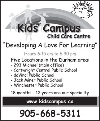 Kids' Campus (905-668-5311) - Display Ad
