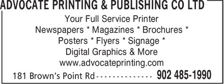 Advocate Printing & Publishing Co Ltd (902-485-1990) - Annonce illustrée - Your Full Service Printer Newspapers * Magazines * Brochures * Posters * Flyers * Signage * Digital Graphics & More www.advocateprinting.com