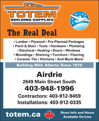 Totem Building Supplies Ltd (403-948-1996) - Annonce illustrée