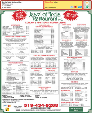 Jewel Of India Restaurant Inc (519-434-9268) - Menu