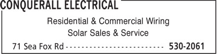 Conquerall Electrical (902-530-2061) - Display Ad - Residential & Commercial Wiring Solar Sales & Service