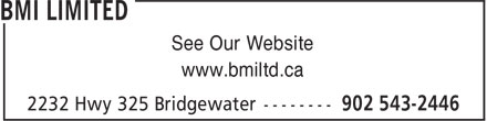 BMI Limited (902-543-2446) - Annonce illustrée - See Our Website www.bmiltd.ca
