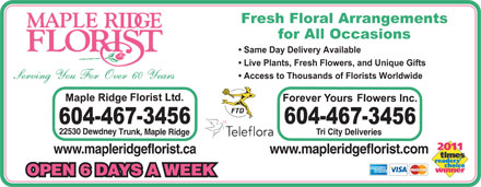 Maple Ridge Florist Ltd (604-467-3456) - Annonce illustrée - Fresh Floral Arrangements for All Occasions Same Day Delivery Available Live Plants, Fresh Flowers, and Unique Gifts Access to Thousands of Florists Worldwide 22530 D e w dn e y Tr T un ri City Deliveries k , Maple R id g e wwww w.mapleridgefloristw.mapleridgeflor .comist.ca OPEN 6 DAYS A WEEK