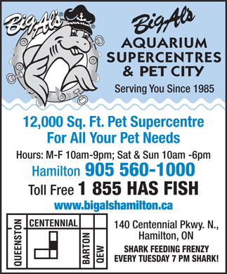 Big Al's Aquarium Supercentres & Pet City (905-560-1000) - Annonce illustrée - Serving You Since 1985 12,000 Sq. Ft. Pet Supercentre For All Your Pet Needs Hours: M-F 10am-9pm; Sat & Sun 10am -6pm Hamilton 905 560-1000 Toll Free 1 855 HAS FISH www.bigalshamilton.ca 140 Centennial Pkwy. N., Hamilton, ON SHARK FEEDING FRENZY EVERY TUESDAY 7 PM SHARK!
