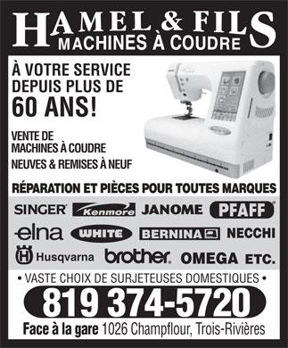 Hamel fils machines a coudre inc 1026 rue champflour for Reparation porte et fenetre trois rivieres