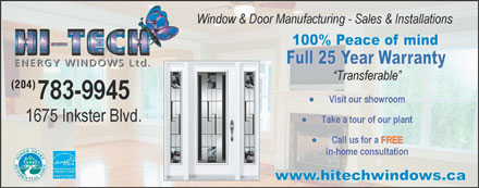 Hi-Tech Energy Windows Ltd (204-783-9945) - Annonce illustr&eacute;e - (204)