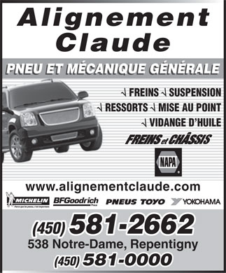 Alignement Claude (450-581-2662) - Display Ad