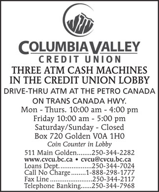 Columbia Valley Credit Union (250-344-2282) - Display Ad