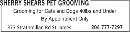 Sherry Shears Pet Grooming (204-777-7297) - Display Ad - Grooming for Cats and Dogs 40lbs and Under By Appointment Only By Appointment Only Grooming for Cats and Dogs 40lbs and Under By Appointment Only Grooming for Cats and Dogs 40lbs and Under