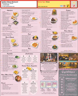 Cynthia's Chinese Restaurant (905-882-8887) - Menu