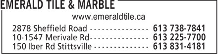 Emerald Tile &amp; Marble (613-604-0724) - Annonce illustr&eacute;e