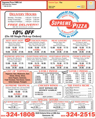Supreme Pizza (1985) Ltd (604-696-8861) - Menu