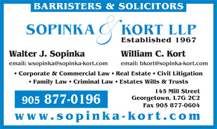 Sopinka & Kort LLP (905-877-0196) - Display Ad