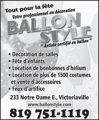 Ballon Style (819-751-1119) - Annonce illustr&eacute;e