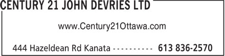Century 21 John DeVries Ltd (613-836-2570) - Annonce illustr&eacute;e - www.Century21Ottawa.com  www.Century21Ottawa.com