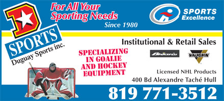 Duguay Sports Inc (819-412-1253) - Display Ad