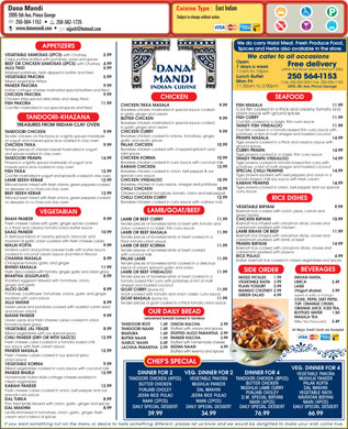 Dana Mandi (250-564-1153) - Menu