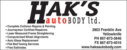 Hak's Auto Body Ltd (867-873-3646) - Display Ad
