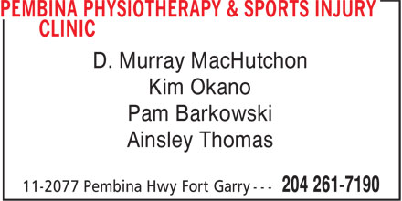 Pembina Physiotherapy & Sports Injury Clinic (204-261-7190) - Annonce illustrée - D. Murray MacHutchon Kim Okano Pam Barkowski Ainsley Thomas D. Murray MacHutchon Kim Okano Pam Barkowski Ainsley Thomas