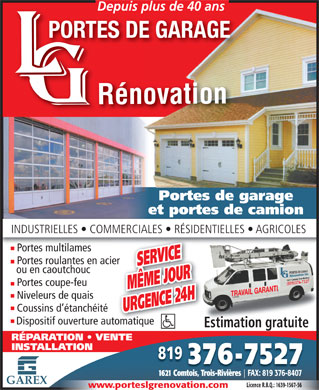 Portes De Garage L-G R&eacute;novation Inc. (819-376-7527) - Annonce illustr&eacute;e