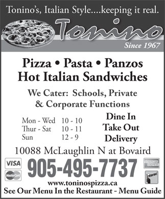Tonino's Pizzeria &amp; Pannini (905-495-7737) - Display Ad