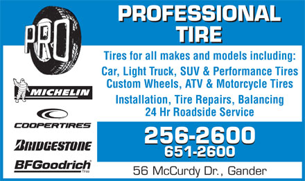 Professional Tire Limited (1-855-205-9193) - Display Ad