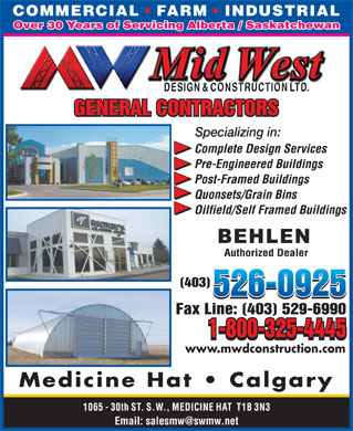 Mid-West Design & Construction Ltd (403-526-0925) - Annonce illustrée - www.mwdconstruction.com Medicine Hat   Calgary Email: salesmw@swmw.net