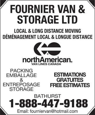Fournier Van &amp; Storage Ltd (1-888-447-9188) - Display Ad