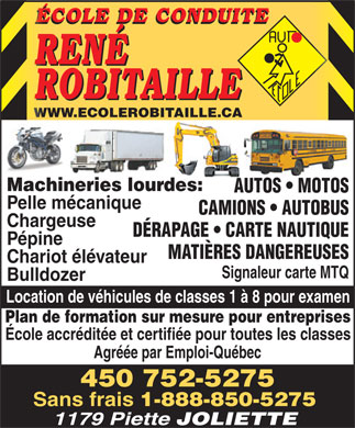 Ecole De Conduite Robitaille (450-752-5275) - Annonce illustr&eacute;e