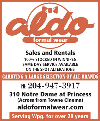 Aldo Formals and Tailors (204-947-3917) - Annonce illustrée