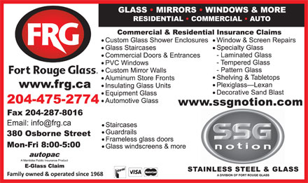 Fort Rouge Glass Ltd (204-475-2774) - Display Ad